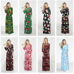 Wholesale womens dresses flare resale online – Christmas Dress Long Sleeve Santa Claus Gift Halloween print Flared Dress for Women Flared Dress Color Casual Womens Apparel