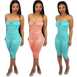 $enCountryForm.capitalKeyWord UK - Sexy Strapless V Pleated Jumpsuits Summer Women Stretchy Solid Wrap Tube Short Capri Jumpsuit Romper Light Blue Pink