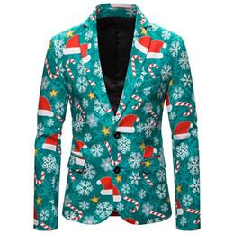 Casual slim suits for men online shopping - HEFLASHOR Men Christmas Blazers Jacket Fashion D Cartoon Christmas Print Suit Jackets For Party Slim Casual Men Suit Coats
