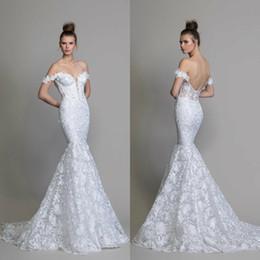 $enCountryForm.capitalKeyWord Australia - High Fashion White Mermaid Wedding Dresses vestidos de novia Lace Backless Bridal Gowns Pnina Tornai 2020 Off Shoulder Beach Wedding Gowns