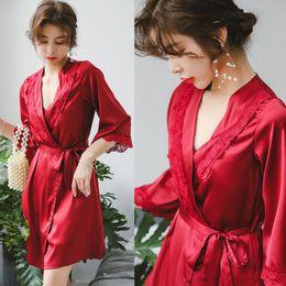 Wholesale 3PCS Women sexy sleepwear pajamas set Lace Silky Babydoll Lingerie padded Summer bandage belted Nightgowns Thong Set female