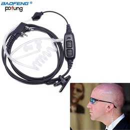 ptt radios Australia - 2 -82 Dual PTT Covert Air Acoustic Tube Headset Earpiece For Walkie Talkie UV-82 Plus UV-82TP GT-5TP Ham Radio