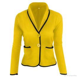 6XL Plus Size Mulheres Blazer Terno Outono Botão Ocasional Magro Trabalho Escritório Curto Blazer Jaqueta Outwear Feminino Jaqueta Veste Femme FS6022 em Promoção