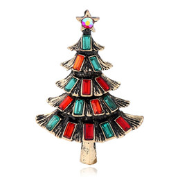 brooch bulk wholesale Australia - Decoration customized five rhinestone crystal 2 mixed colorful Christmas tree brooch pins bulk for woman adies of Decoration