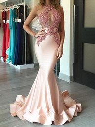 blush prom dresses beaded NZ - Sexy jewel Evening Dresses Wear Illusion Lace Appliques Beaded Blush Pink Mermaid Long Sheer Back 2019 New Formal Party Dress Prom Gown
