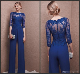 $enCountryForm.capitalKeyWord Australia - New Royal Blue Plus Size Mother Of Bride Pant Suit 3 4 Lace Sleeve Mother Jumpsuit Chiffon Cocktail Party Evening Dresses Custom Made 481