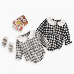 Toddler Leopard Jumpsuit Australia - New INS Toddler Baby Girls Plaid Jumpsuits Turn-down Collar 100% Cotton Front Button Long Sleeve Romper Spring Fall Newborn Romper For 0-3T