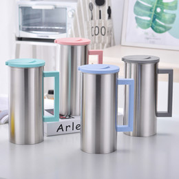 Drink colD water online shopping - 1 L Stainless Steel Water Jug Cold and Hot Water Bottle With Handle Korean Juice Drinks Cups Coffee Mug GGA2112
