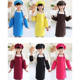 Vente en gros Enfants Tabliers Pocket Craft Cuisine Cuisine Art Cuisinière Peinture Enfants Cuisine Salle à manger Tabliers d'enfants avec chapeau et manches Tabliers pour enfants RRA2083