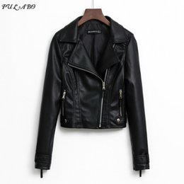 Beige Motorcycle Jacket Australia - 2019 New Fashion Women Smooth Motorcycle Faux Leather Jackets Ladies Long Sleeve Autumn Winter Biker Streetwear Black Pink Coat