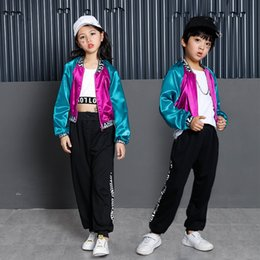 $enCountryForm.capitalKeyWord Australia - Hip Hop Boys Girls Dance Clothes Ballroom Costume for Girls Color Block Jacket Crop Tank Tops Jogger Pants Dancing Streetwear
