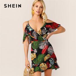b44730ab2eb Boho Wrap Front Ruffle Trim Color-block Tropical Cami Summer Party Dress  Women 2019 Deep V Neck Cold Shoulder Sexy Dresses C19041001