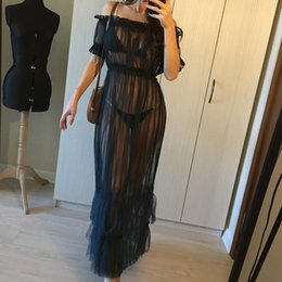 off shoulder frill dresses NZ - S 3Xl 7 Color Off Shoulder Sheer Mesh Maxi Dress Women Summer Dress See Through Frill Night Club Sexy Party Dress W77