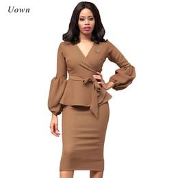 d0471b1d0e9 Autumn Fashion Women Office Dresses Peplum Pencil Dress Lantern Sleeve  Formal Business Attire Wear To Work Dresses Outfits
