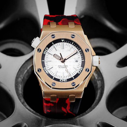 Watch silicone strap online shopping - luxury mens designer watches camouflage rubber strap rose gold case luminous automatic mechanical movement wristwatches orologio di lusso