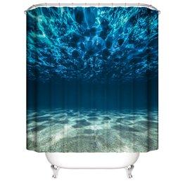 Personalizzato impermeabile subacquea mondo tartaruga mondo colorato pesci fiori doccia tende stampa digitale 3D bagno tende con anelli in Offerta