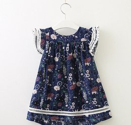 very good flowers 2020 - Baby girls floral Flying-sleeve Dresses kids cotton flower skirts children summer boutiques clothing very good quality
