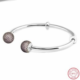 sterling silver european stoppers UK - Hand-finished Moments Silver 925 Open Bangles for Women Fine Jewelry with Dazzle Pink CZ Pave End CAPS & Two Stoppers FLB046B