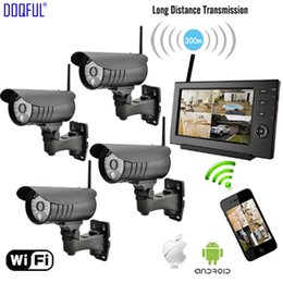 "Camera Security Sd Australia - 7"" Monitor 2.4G Digital Wireless CCTV Security Kit SD Record DIY Surveillance Camera de Seguranca Via Phone Built-in Li Battery"