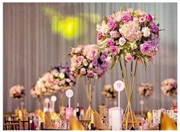 Banquet Centerpieces Australia - Extraordinary Wedding Trumpet Shape Gold White Metal Flower Stand Road Lead For Wedding Party Banquet Home Decoration Usage