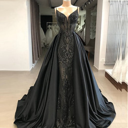 31cd418268f Long Black Mermaid Prom Dresses 2019 Glitter Abendkleider Saudi Arabic Plus  Size Evening Dresses with Detachable Skirt hochzeitsklei