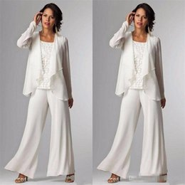 plus size mother groom pant suits UK - 2018 Elegant Evening Mother of The Bride Dresses Ankle Length Long Sleeve Jackets Lace Pant Suits for Women Mother Groom Plus Size Gowns