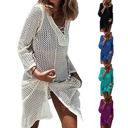 $enCountryForm.capitalKeyWord NZ - Vertvie Women Beach Wear Outings Cover Up Knitting Robe Plage Candy Color Kaftan Dress Pareos Bikini Sarong Swimsuit One Size J190623