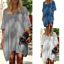 $enCountryForm.capitalKeyWord Australia - Casual design ladies clothes solid color sexy V-neck loose large size T-shirt dress summer streetwear womens dresses womans clothing