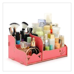 Wood Drawer Storage Box Australia - Storage Drawers Box DIY Wood Beauty Makeup Cosmetics Organizer Removable Case Cute Style Table Floor Home