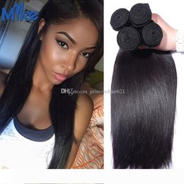 princess hair weave NZ - MikeHAIR Wholesale Brazilian Malaysian Peruvian Straight Human Hair Most Popular Princess Hair Products Raw Indian Human Hair Weave 4 Pieces