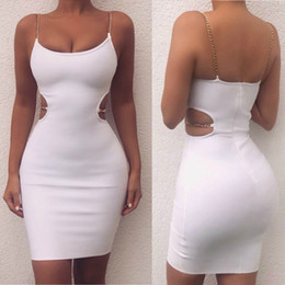 $enCountryForm.capitalKeyWord Australia - Summer Metal Chain Spaghetti strap Dress For Women White Backless Bodycon Dress Women Clubwear Party Dress Vestidos Sexy Fashion Beachwer