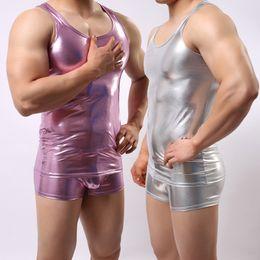 $enCountryForm.capitalKeyWord Australia - Hot Brand Men Fitness Tank Top Star Faux Leather Sleeveless Sexy Tanks Mens Bottom Bodybuilding GYM Vest Fashion Gay Undershirt