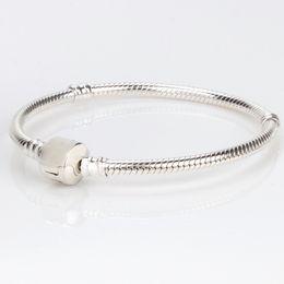 Pandora Silver Plate Bracelets NZ - Silver Plated Pandora Bracelets For Women Snake Chain Bracelet DIY Jewelry Charm Logo Bracelet Mix size free