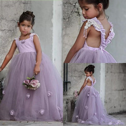 dress for babies first birthday Canada - 2020 Wedding Flower Girl Dresses with Handmade Flowers Baby Girl Clothes First Birthday Gowns Backless Pageant Dresses for Girls