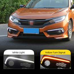 accessories for honda NZ - 2Pcs For Honda Civic 10th 2016 2017 2018 turning Signal style 12V Car LED DRL Daytime Running Lights Accessories with Fog Lamp hole