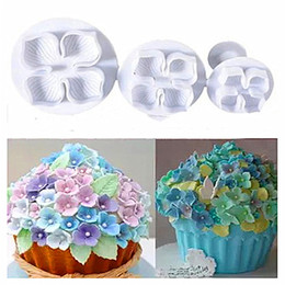 Fondant Flowers plungers online shopping - 3Pcs Set Silicone Hydrangea Fondant Cake Decorating SugarCraft Cookies Plunger Cutter Flower Blossom Mold Cake Tools