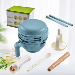 infant feeding bowls Canada - Multi-function Household Wheat Straw Infant Baby Grinding Bowl Complementary Food Burnisher Hand Press Food Grinder Feeding Tableware Set