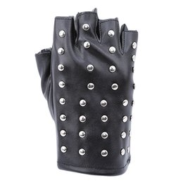 black leather gloves half fingers NZ - Fashion Womens Punk Gloves Half Finger PU Leather Gloves Tactical Fingerless Rivet Black Hip-hop Performance