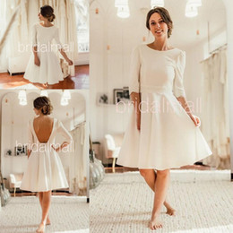 Green knee lenGth dresses online shopping - Summer Ivory Satin Short Wedding Dresses Open Back Knee Length Bridal Dresses Half Sleeves Wedding Bridal Gowns Custom Robes de mariage