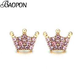 Magic Plates Australia - BAOPON High Quality Authentic Real Silver Plated Magic Crown Clear CZ Fine Stud Earring Women Wedding Jewelry Femme Brincos