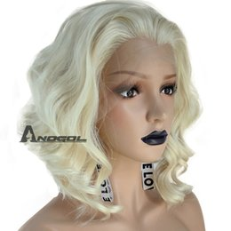 Medium Length Hair For Women Australia - Anogol Synthetic Hair 613 Blonde Lace Front Wig Bob Short Curly Wigs For Women