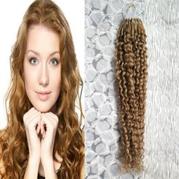 $enCountryForm.capitalKeyWord Australia - kinky curly micro bead extension Micro Ring Hair Extensions 1g Stand unprocessed virgin brazilian curly wave micro loop ring hair extensions