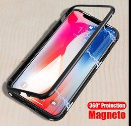 Vente en gros Etui de téléphone en adsorption magnétique en métal pour iPhone X XS MAX 8 7 Plus Samsung s8 s9 plus note 8 9 clair en verre trempé aimant intégré ultra