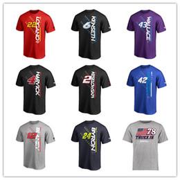 Großhandel NASCAR T-Shirt Alex Bowman # 24 William Byron # 12 Ryan Blaney # 2 Brad Keseloweski # 4 Kevin Harvick Schwarz 2019 Kurze Sporthemden mit Logoaufdruck