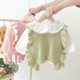 knitting baby vest UK - Girls' spring and autumn Western Sweater Vest style vest girls' fashionable waistcoat baby knitted sweater