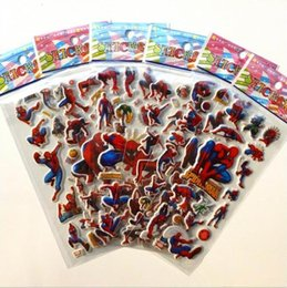 Chinese  3D Cartoon stickers 29 designs 7*17cm baby spiderman party Decorative toys Kids Book Stickers paper game Children gift toys DHL free manufacturers