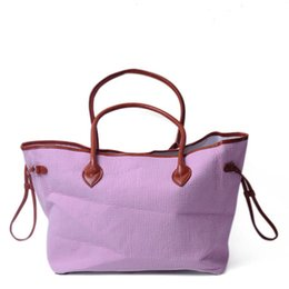 wholesale fashion cotton handbags UK - Wholesale Seersucker Fabric Weekender Bag Straw Tote Cotton Bag Large PU Leather Handbag Carry On Women Shoulder Purse DOM430