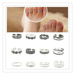 $enCountryForm.capitalKeyWord Australia - Fashion Flower Toe Rings 12Pcs Rings Celebrity Simple Sliver Plated Retro Carved Flower Toe Ring Foot Jewelry