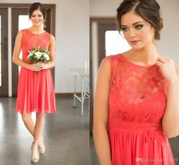 Lace Coral NZ - Bridesmaid Dresses Cheap Country Short For Weddings Coral Ice Blue Lace Jewel Neck Illusion Plus Size Formal Maid of Honor Gowns 268