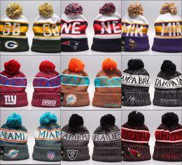 Cheap Winter Beanies NZ - Cheap New Arrival Beanies Hats American Football 32 teams Beanies Sports winter side line knit caps Beanie Knitted Hats drop shippping